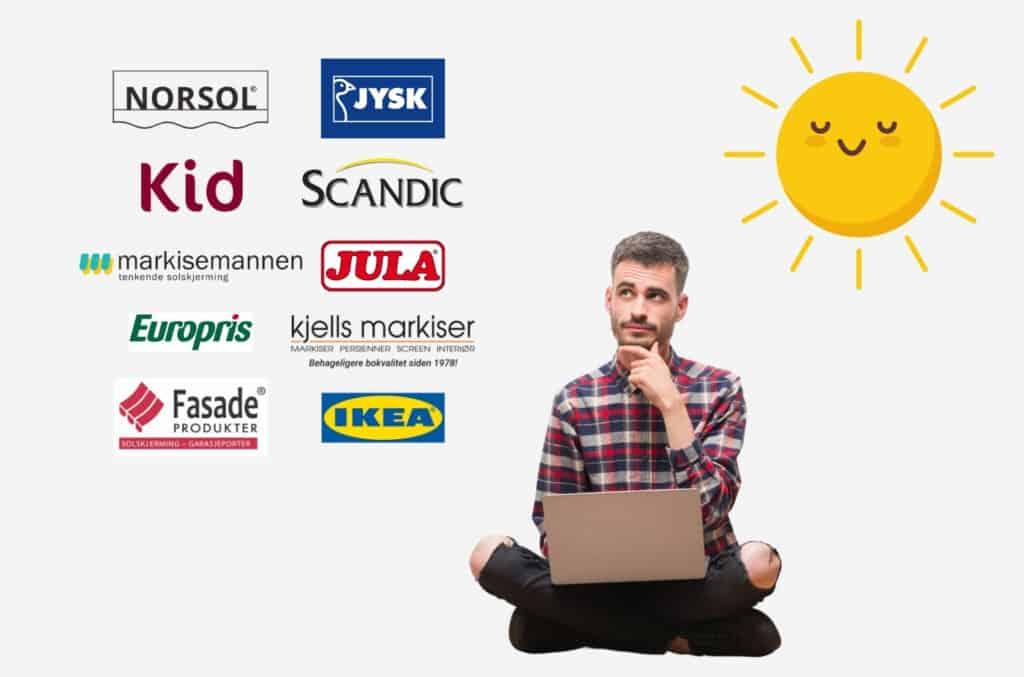 Mann som skal kjøpe solskjerming og vurderer ulike typer og leverandører