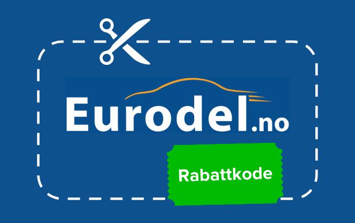 Logoen til eurodel med saks som illustrerer rabattkode på grønn prislapp
