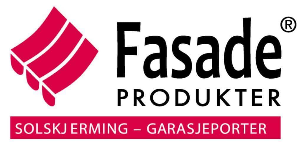 Logoen til Fasadeprodukter AS med hvit bakgrunn og sort og rød farger