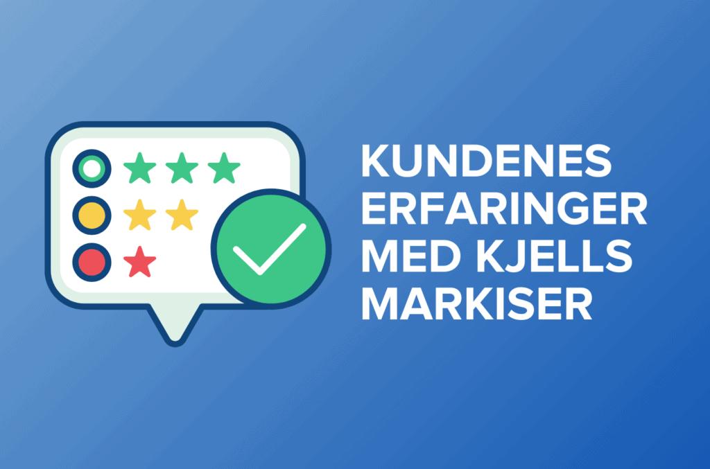 Anmeldelser i snakkeboble og hvit tekst med kundenes erfaringer med kjells markiser. Blå gradient bakgrunn