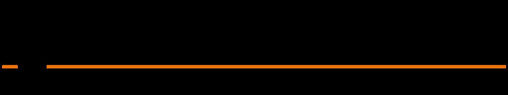 Kjells Markiser logo transparent bakgrunn sort tekst oransje stripe