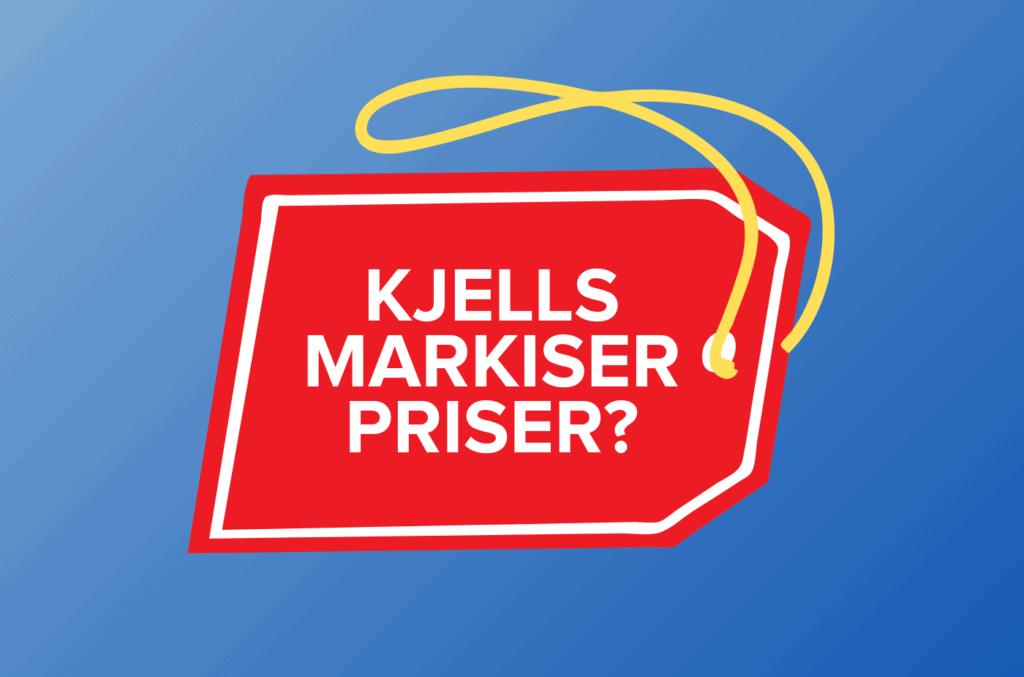 Prislapp med teksten Kjells Markiser priser på blå gradient bakgrunn