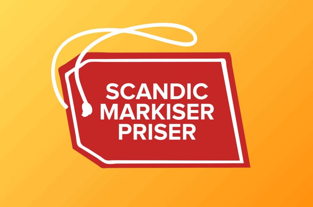 Tekst Scandic Markiser priser i store bokstaver på prislapp med oransje bakgrunn