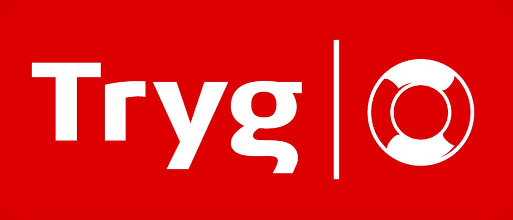 Tryg Forsikring logo rød bakgrunn hvit tekst