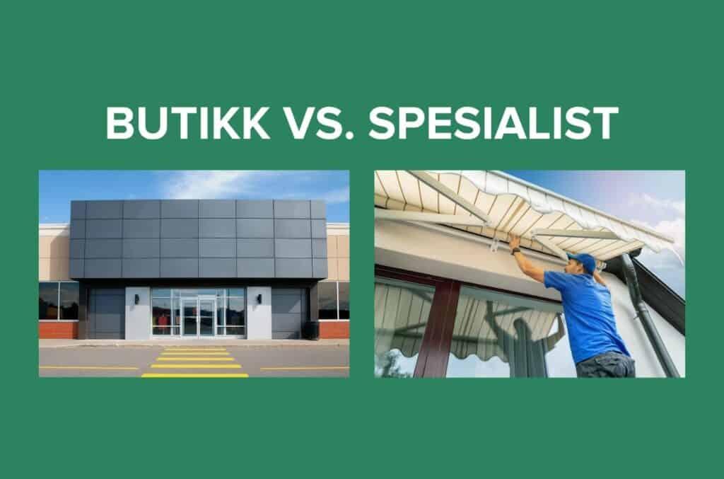 To bilder butikk vs. spesialist på grønn bakgrunn