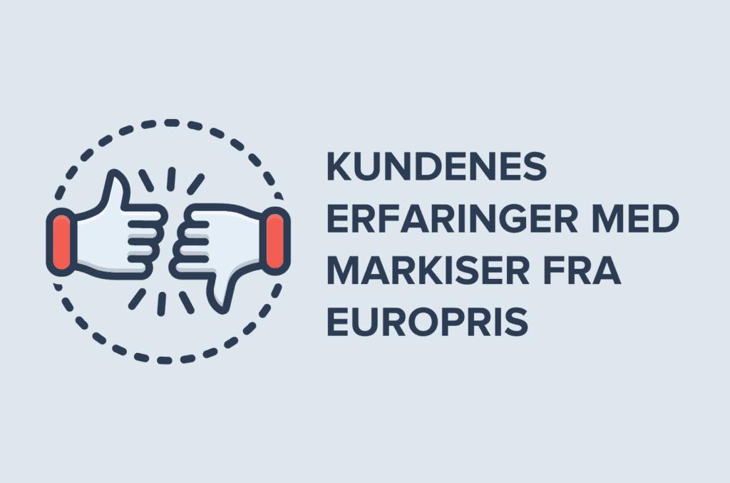 Blå bakgrunn med tekst kundenes erfaringer med markiser fra Europris tommel opp tommel ned