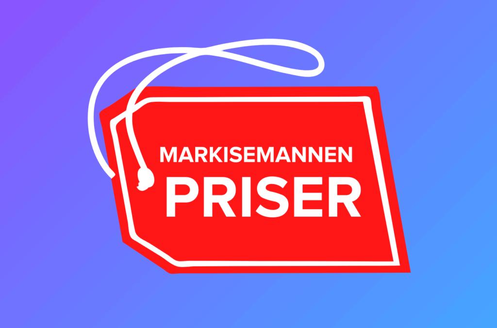 Rød prislapp med hvit tekst Markisemannen priser på lilla og blå gradient bakgrunn