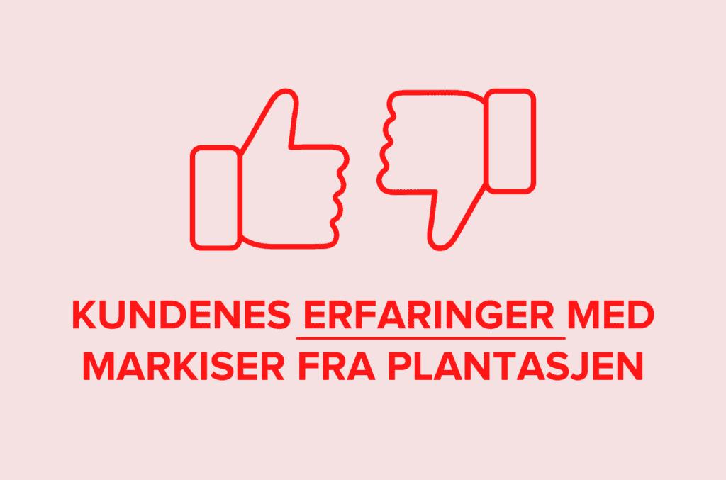 Rosa bakgrunn med rød tekst kundenes erfaringer med markiser fra Plantasjen tommel opp tommel ned ikoner