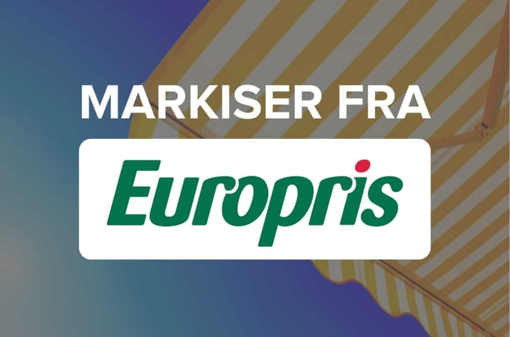 Tekst markiser fra Europris på bakgrunn med blå himmel og markise