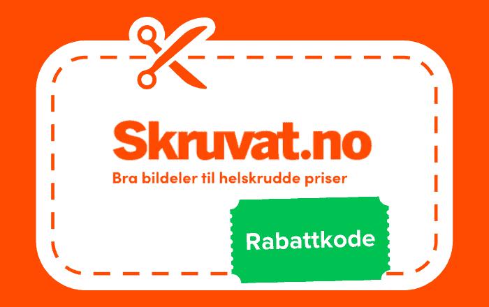 Logoen til Skruvat med saks som illustrerer rabattkode på grønn prislapp. Oransje bakgrunn