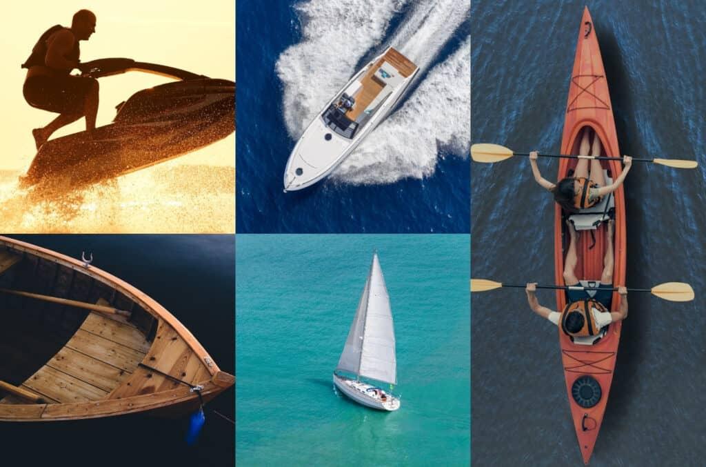 Kollasje av ulike sjøfartøy som viser vannscooter, motorisert båt, robåt, seilbåt og kajakk