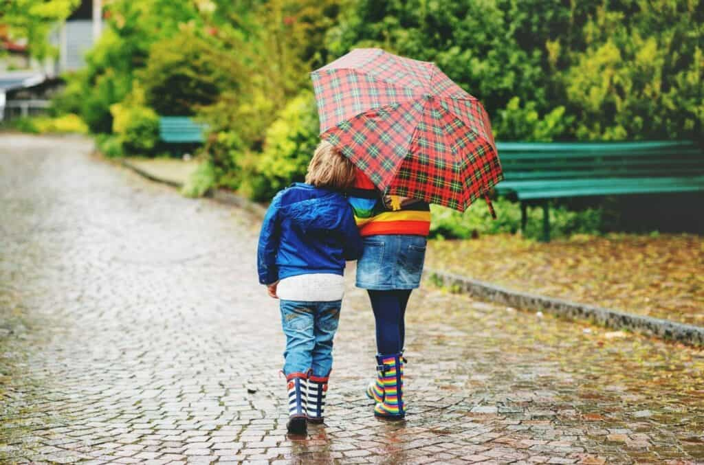to barn under paraply i regnet som symboliserer barneforsikring